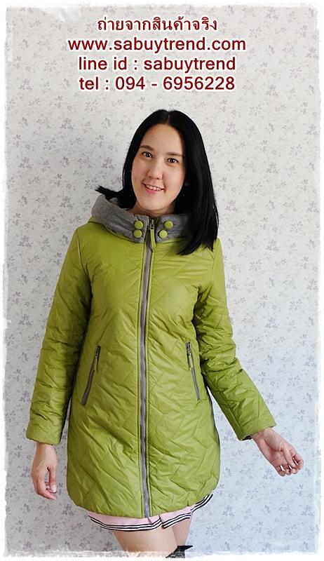 ((ขายแล้วครับ))((จองแล้วครับ))ca-2634 เสื้อโค้ทกันหนาวผ้าร่มสีเขียว รอบอก36