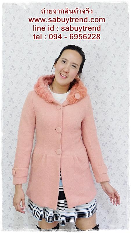 ((ขายแล้วครับ))((คุณNatจองครับ))-2623 เสื้อโค้ทกันหนาวผ้าวูลสีชมพู รอบอก32