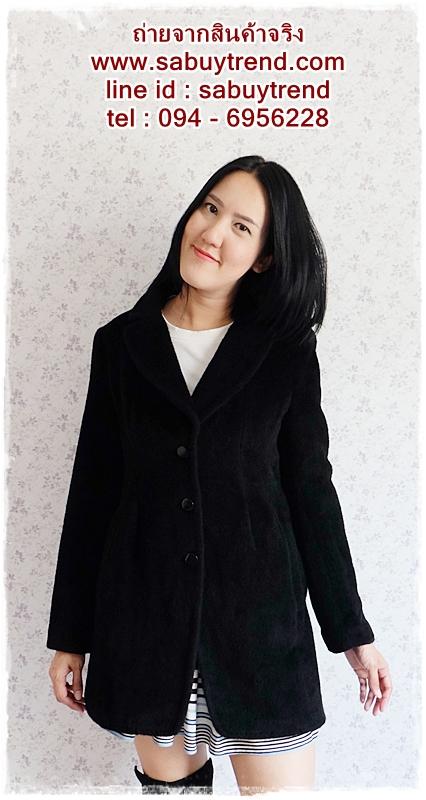 ((ขายแล้วครับ))((คุณMeeจองครับ))ca-2676 เสื้อโค้ทกันหนาวผ้าวูลสีดำ รอบอก36