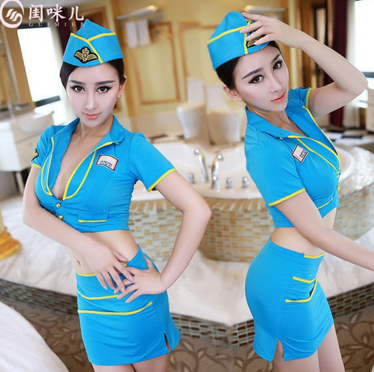 ชุดทหารหญิงแฟนซีเซ็กซี่ เสื้อคอปกตัวสั้น อกลึกเอวลอย กระโปรงทรงสอบ สีฟ้าแต่งแถบสีเหลือง พร้อมหมวก