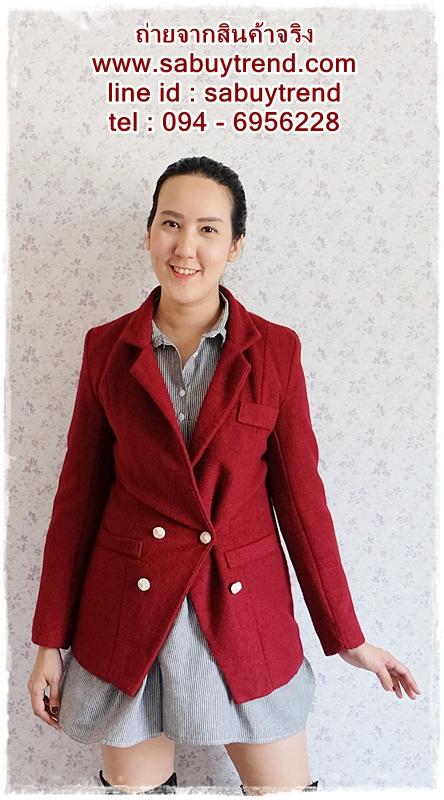 ((ขายแล้วครับ))((จองแล้วครับ))ca-2704 เสื้อโค้ทกันหนาวผ้าวูลสีไวน์แดง รอบอก32
