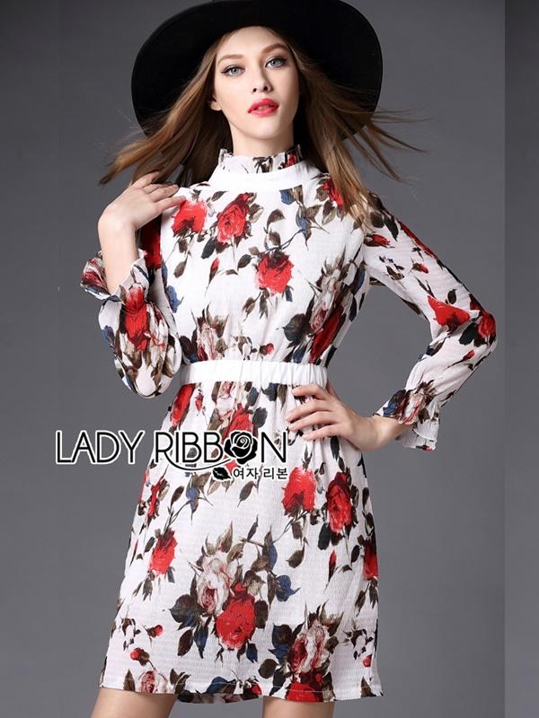 Lady Ribbon Dress เดรสลายดอกกุหลาบ
