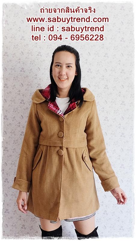 ((ขายแล้วครับ))((คุณSomitaจองครับ))ca-2702 เสื้อโค้ทกันหนาวผ้าวูลสีกากี รอบอก36