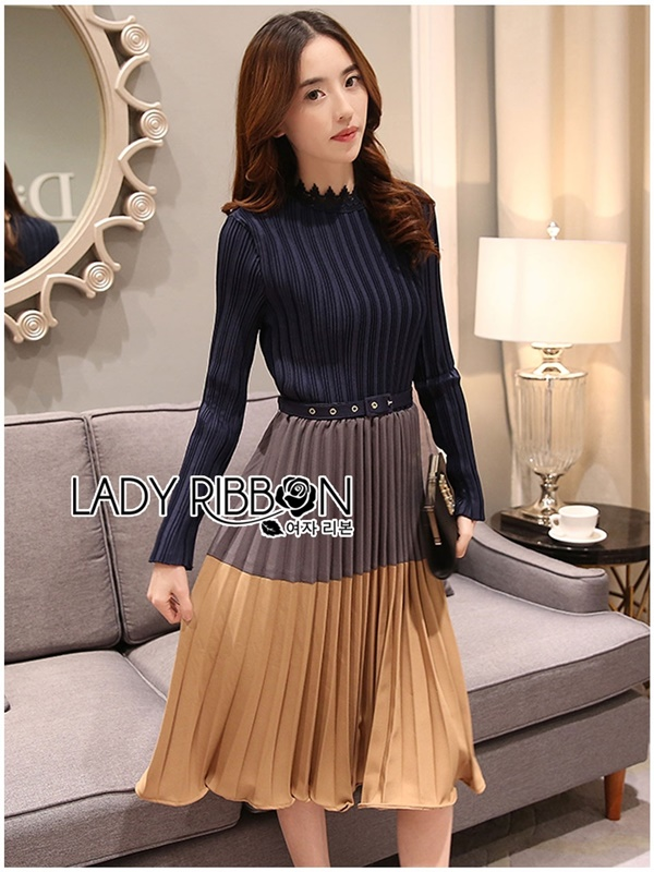 Lady Ribbon Pleated Dress เดรสผ้าจับพลีต