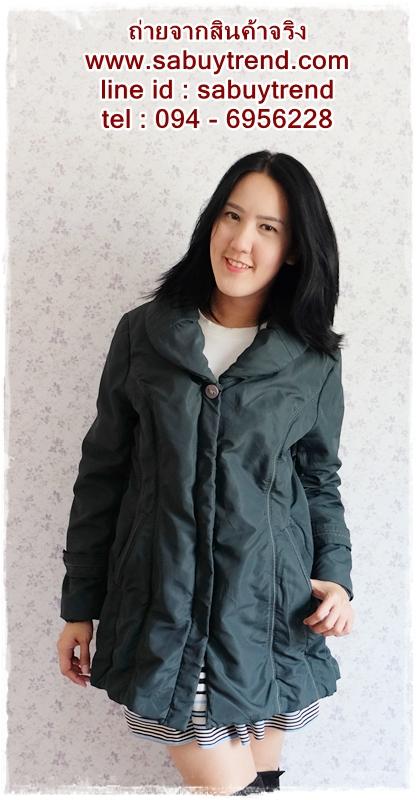 ((ขายแล้วครับ))((คุณแน่งน้อยจองครับ))ca-2666 เสื้อโค้ทกันหนาวผ้าร่มสีเขียว รอบอก40