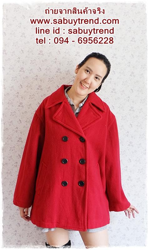 ((ขายแล้วครับ))((จองแล้วครับ))ca-2722 เสื้อโค้ทกันหนาวผ้าวูลสีแดง รอบอก46