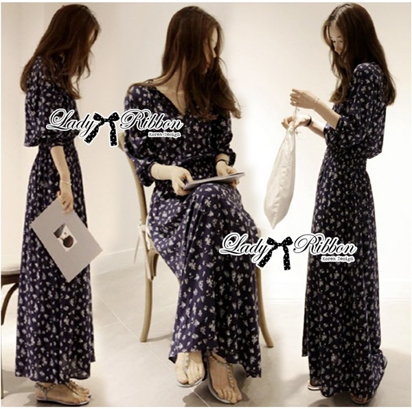Lady Ribbon Sweet Delicate Print Maxi Dress