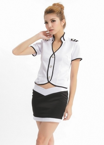 ชุดทหารหญิงแฟนซี,ตำรวจหญิงแฟนซี เสื้อเข้ารูปแขนสั้นขาวกุ๊นดำ คอแหลมปกตั้ง 2 ชั้น กระดุมเงิน มีบั้ง พร้อมกระโปรงสั้นขอบเอวเว้าแหลม สีดำขอบขาว