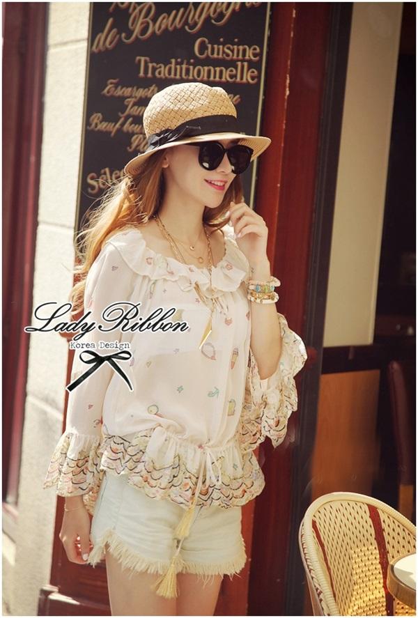 Lady Ribbon Glittering Printed Blouse เสื้อชีฟอง ระดับลายกลิตเตอร์