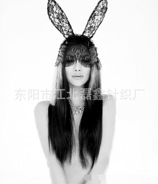 ที่คาดผมหูกระต่าย ลูกไม้แฟนซีสีดำ แบบมีลูกไม้ปิดช่วงตา
