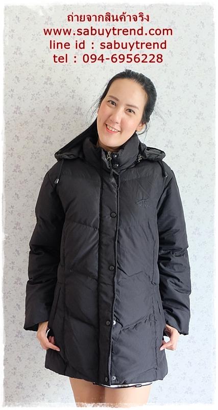((ขายแล้วครับ))((จองแล้วครับ))ca-2761 เสื้อโค้ทขนเป็ดสีดำ รอบอก44