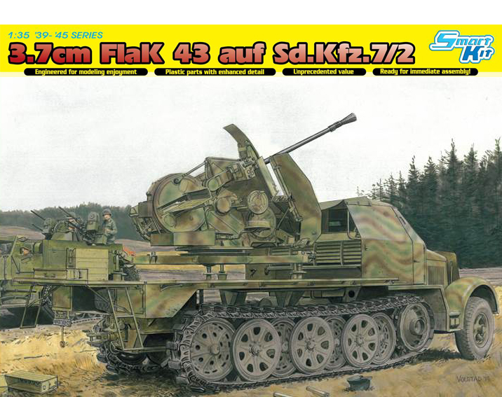 DRA6553 Sd.Kfz.7 w/3.7cm FLAK 43 1/35 SCALE
