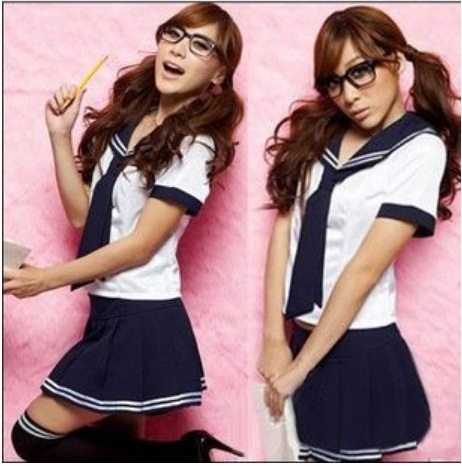 ชุดนักเรียนญี่ปุ่นแฟนซี เสื้อขาวคอปกแบบทหารเรือ กระโปรงสีน้ำเงินเดินเส้นขาว เนคไทด์น้ำเงิน (พร้อม กกน.เข้าชุด)