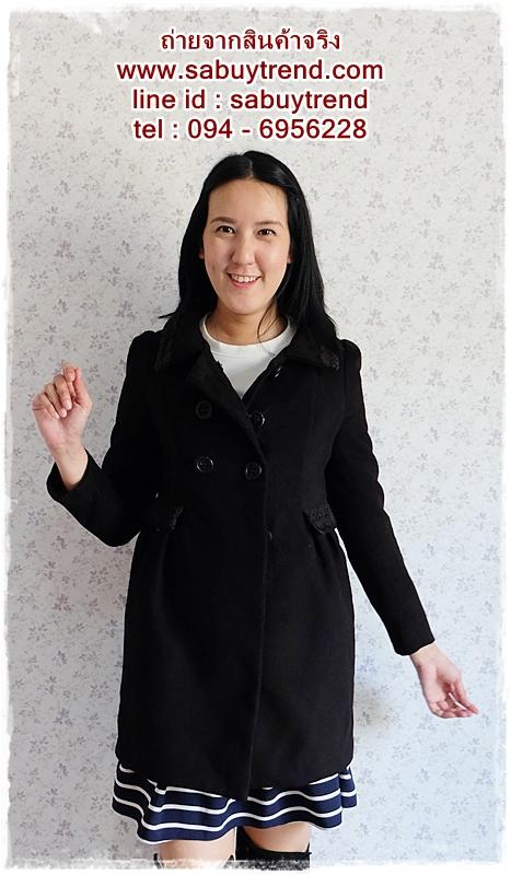 ((ขายแล้วครับ))((คุณMONAจองครับ))ca-2560 เสื้อโค้ทกันหนาวผ้าวูลสีดำ รอบอก34