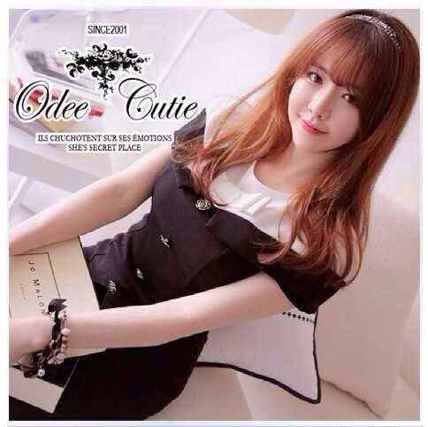 B&W Ribbon Mini Dress มินิเดรสโทนสีขาวดำ แต่งโบว์