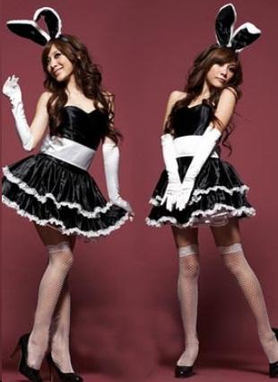 ชุดแฟนซี เกาะอก กระต่ายน้อย Bunny girl กระโปรงบาน พร้อมหูกระต่าย+ถุงมือ สีดำขลิบขาว