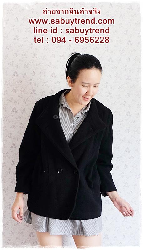 ((ขายแล้วครับ))((คุณKhawจองครับ))ca-2721 เสื้อโค้ทกันหนาวผาวูลสีดำ รอบอก42