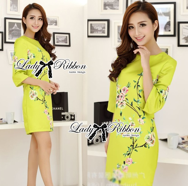 Lady Ribbon Eastern Blossom Print Dress in Green