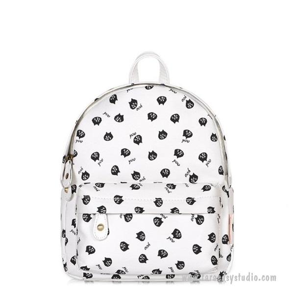 กระเป๋าเป้มินิยี่ห้อ Super Lover ของแท้ สะพายน่ารักสาวเกาหลีสีขาวลายแมว (Preorder)