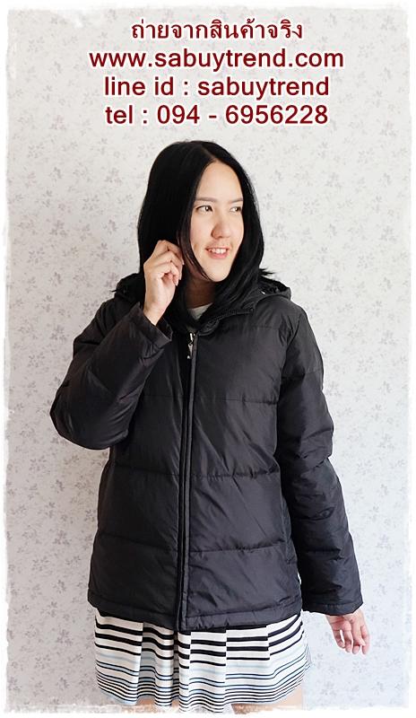 ((ขายแล้วครับ))((คุณพิกุลจองครับ))ca-2670 เสื้อโค้ทกันหนาวผ้าร่มขนเป็ดสีดำ รอบอก42