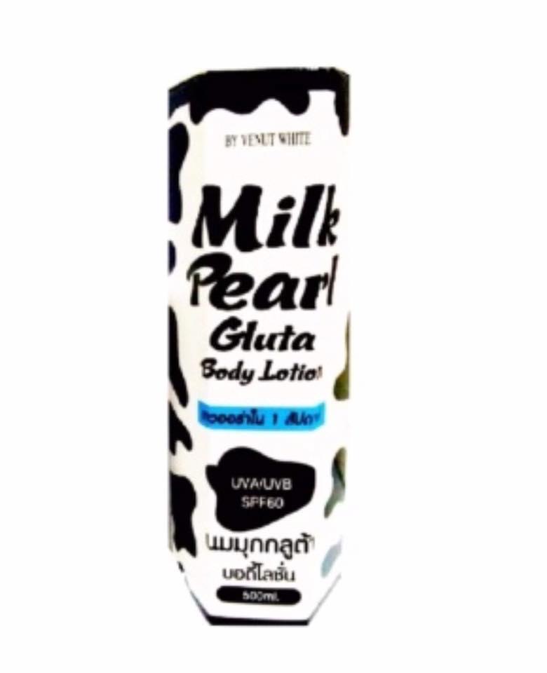 Milk Pearl Gluta Body Lotion by Venut White 500 ml. นมมุกกลูต้า บอดี้โลชั่น