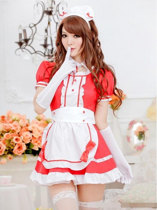 ชุดเมด ชุดสาวใช้ ชุดแม่บ้านแฟนซี สีแดงขาวสุดน่ารัก ผูกโบว์ด้านหลัง (ไม่มีถุงมือ)