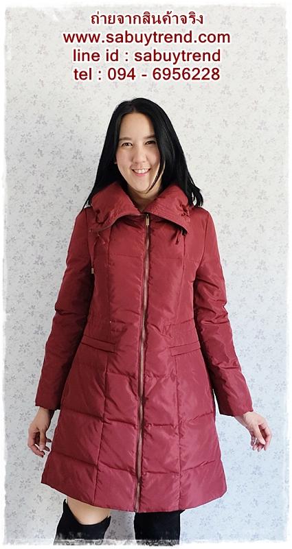 ((ขายแล้วครับ))((คุณณัฐชยาจองครับ))ca-2649 เสื้อโค้ทกันหนาวผ้าร่มขนเป็ดสีไวน์แดง รอบอก38