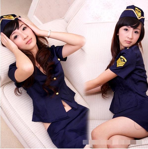 ชุดนอนแฟนซีตำรวจ สุดเซ็กซี่สีน้ำเงิน ตกแต่งอาร์มสีเหลือง มีหมวก(พร้อม กกน.เข้าชุด)