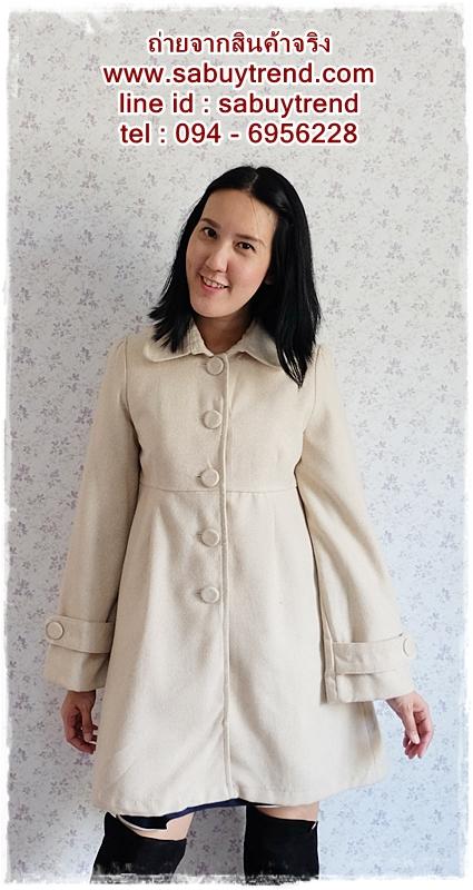 ((ขายแล้วครับ))((คุณรุจิราจองครับ))ca-2561 เสื้อโค้ทกันหนาวผ้าถักสีครีม รอบอก36