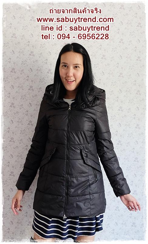((ขายแล้วครับ))ca-2552 เสื้อโค้ทกันหนาวผ้าร่มสีดำ รอบอก34