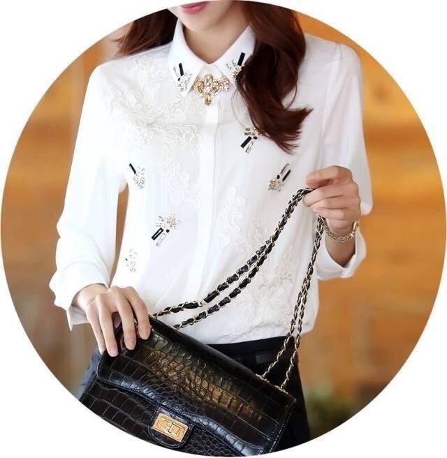 Icevanilla Star Jewels and L ace 3D Stitch Luxury Shirt
