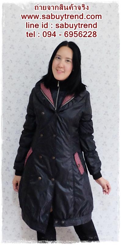 ((ขายแล้วครับ))(จองแล้วครับ))ca-2610 เสื้อโค้ทกันหนาวผ้าร่มสีดำ รอบอก38
