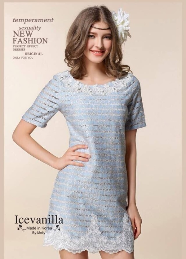 Icevanilla Luxury Stitch Gold Embroidery Lace Dress
