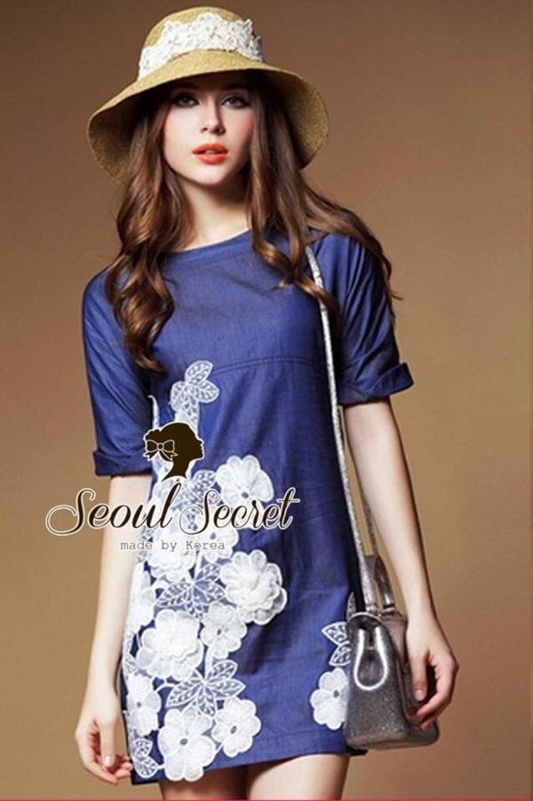 Seoul Secret Blue Denim Lace Furnish Dress