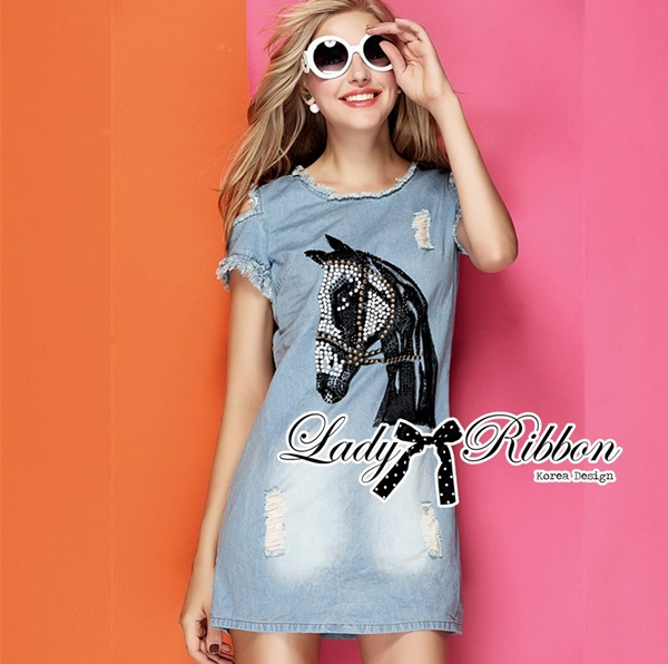 Lady Ribbon Horse Embellished Ripped Faded Denim Dress
