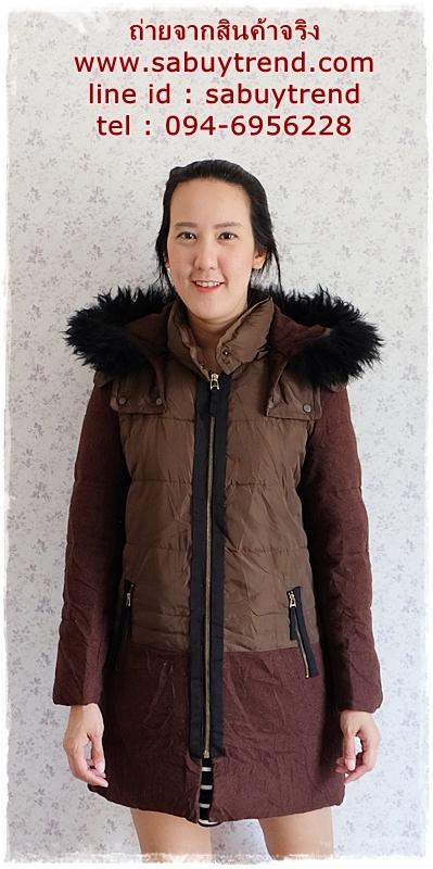 ((ขายแล้วครับ))((จองแล้วครับ))ca-2836 เสื้อโค้ทกันหนาวผ้าร่มสีน้ำตาล รอบอก38