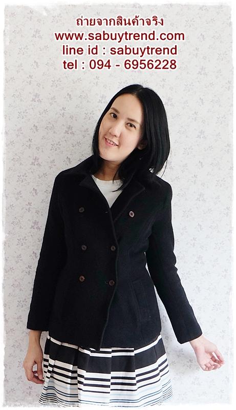 ((ขายแล้วครับ))((คุณKhawจองครับ))ca-2582 เสื้อโค้ทกันหนาวผ้าวูลสีดำ รอบอก34