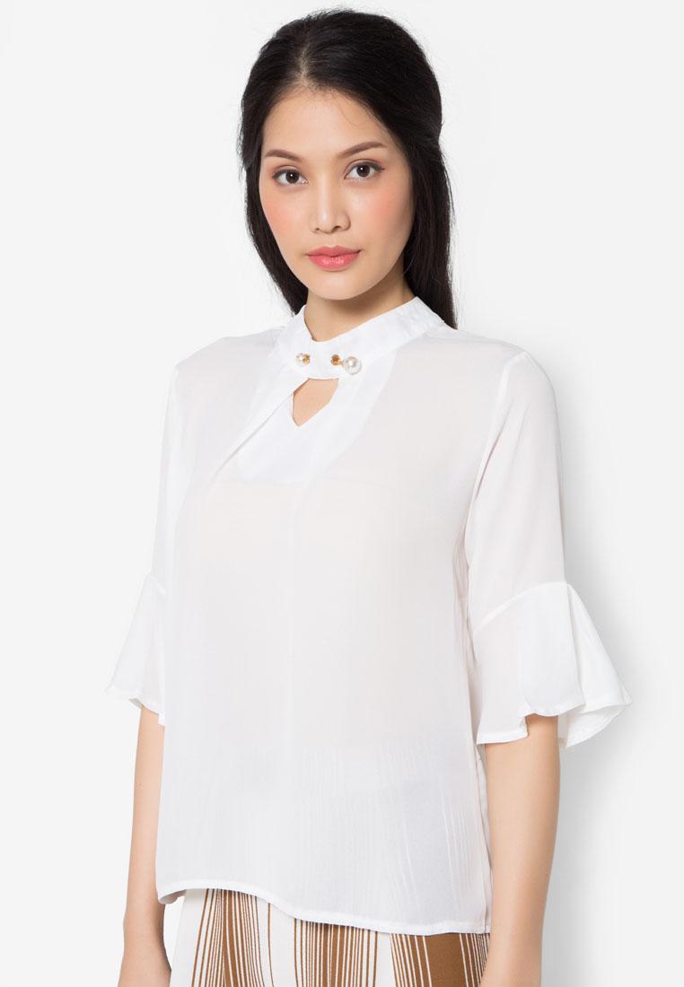 เสื้อเบลาส์ Pearl Pin Collar
