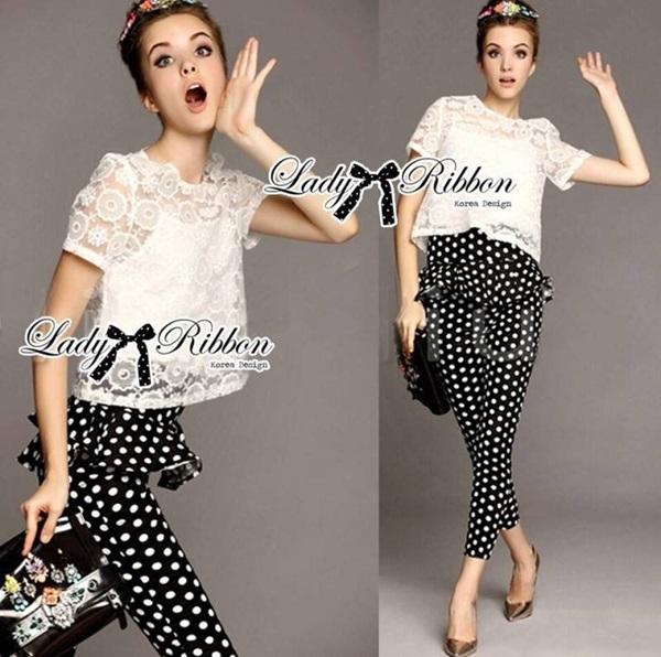 Lady Ribbon Lace Blouse and Polka Dots Peplum Pant Set
