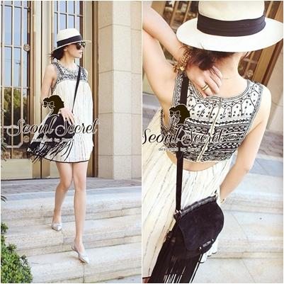 Seoul Secret Black Tone Embroidered Breast Luxury Dress