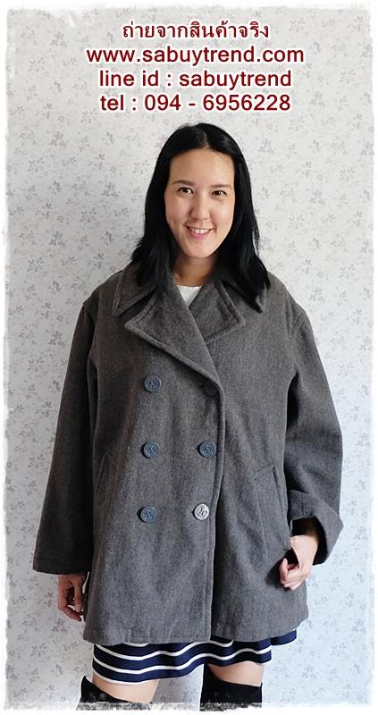 ((ขายแล้วครับ))((คุณณัฐวดีจองครับ))ca-2565 เสื้อโค้ทกันหนาวผาวูลสีเทา รอบอก44