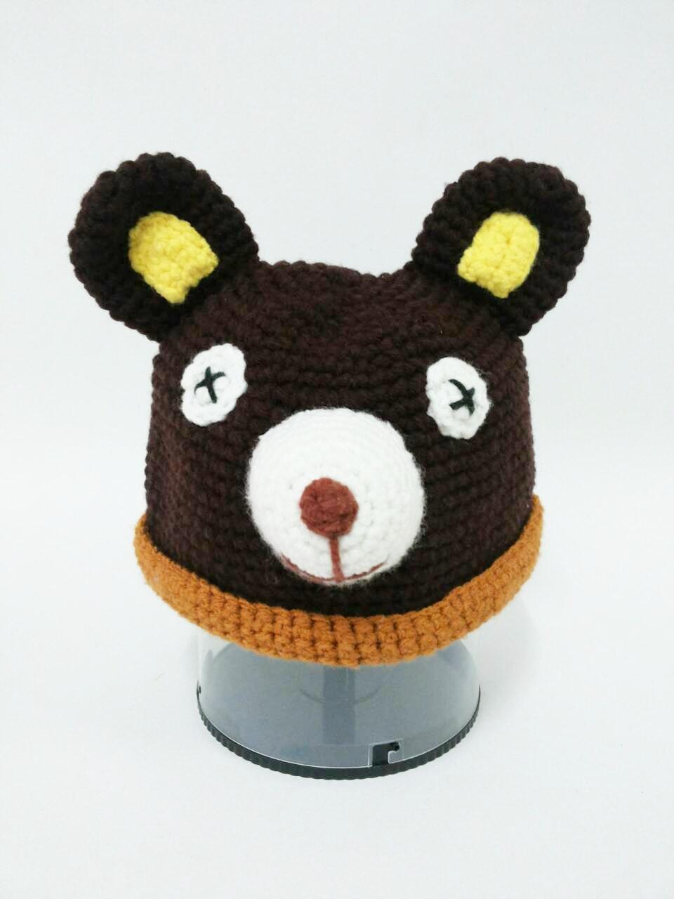 หมวกถักไหมพรม รูปสัตว์น่ารัก ราคาถูก-หมีน้อย
