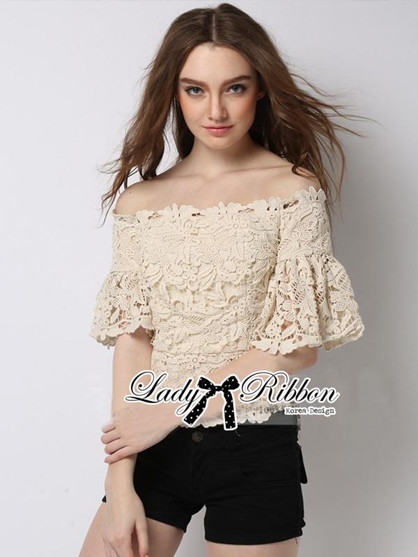 Lady Ribbon Sweet Vintage Off-Shoulder Lace Top