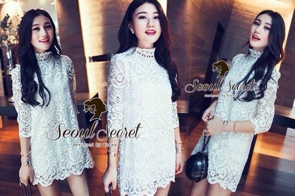 Seoul Secret เดรสผ้าลูกไม้ Organdy ปักและฉลุลายทั้งตัว