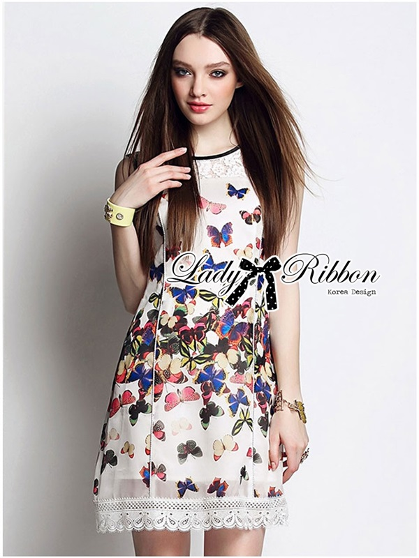 Lady Ribbon Insert Lace Colourful Butterfly Printed Dress