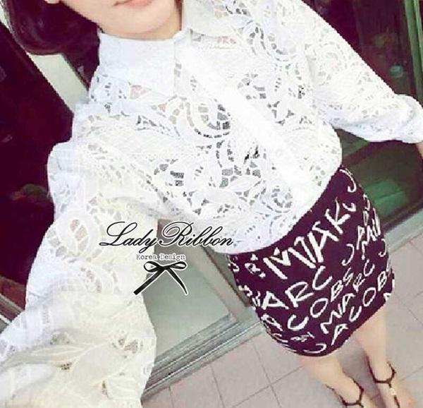 Lady Ribbon Floral Lace Shirt เสื้อเชิ้ตแขนยาว ลูกไม้ซีทรู