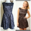 Topshop Glamorous Black Gold Skater Dress Size uk10