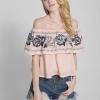 เสื้อเบลาซ์ Off-Shoulder Rose Embroided