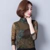 เสื้อเบลาส์ Sheer Collar Leaf Printed