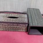 -กล่องกระดาษทิชชู ทำจากกก<<ลายเม็ดข้าวช้างคลาด>> ขนาดกว้าง 26 cm. x ลึก 13 x สูง 10cm.